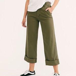 Free People on my mind wide leg crop pants olive